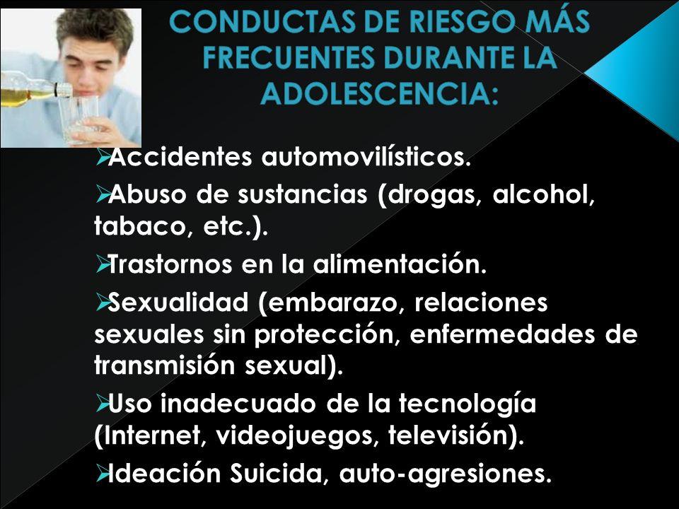CONDUCTAS DE RIESGO MÁS FRECUENTES DURANTE LA ADOLESCENCIA: