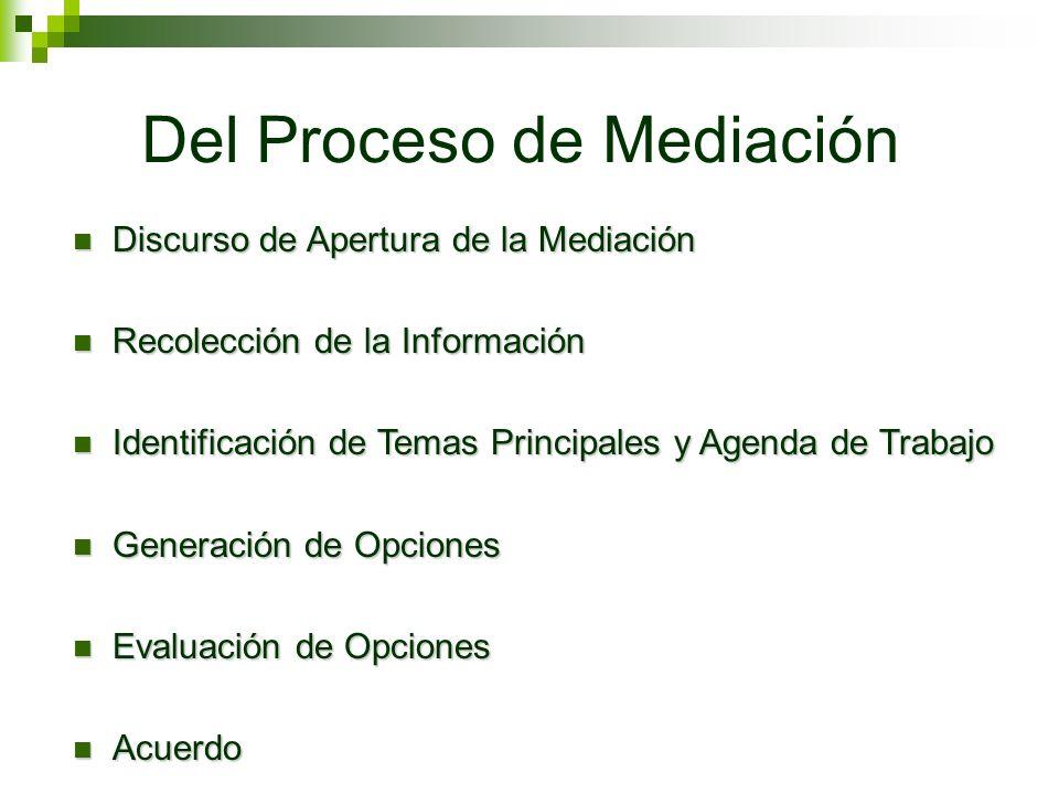 Del Proceso de Mediación