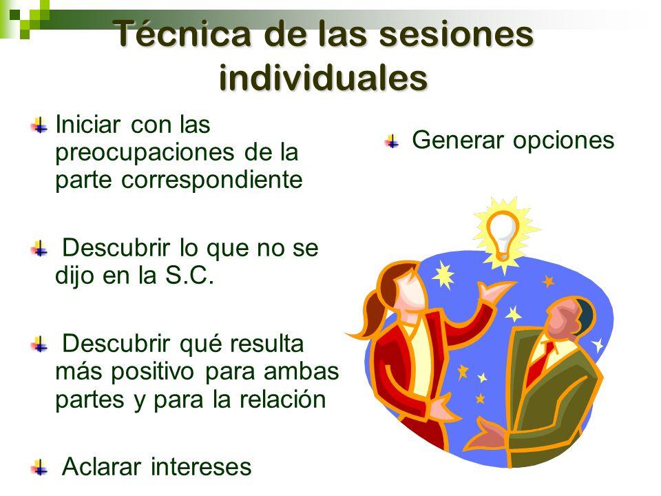 Técnica de las sesiones individuales