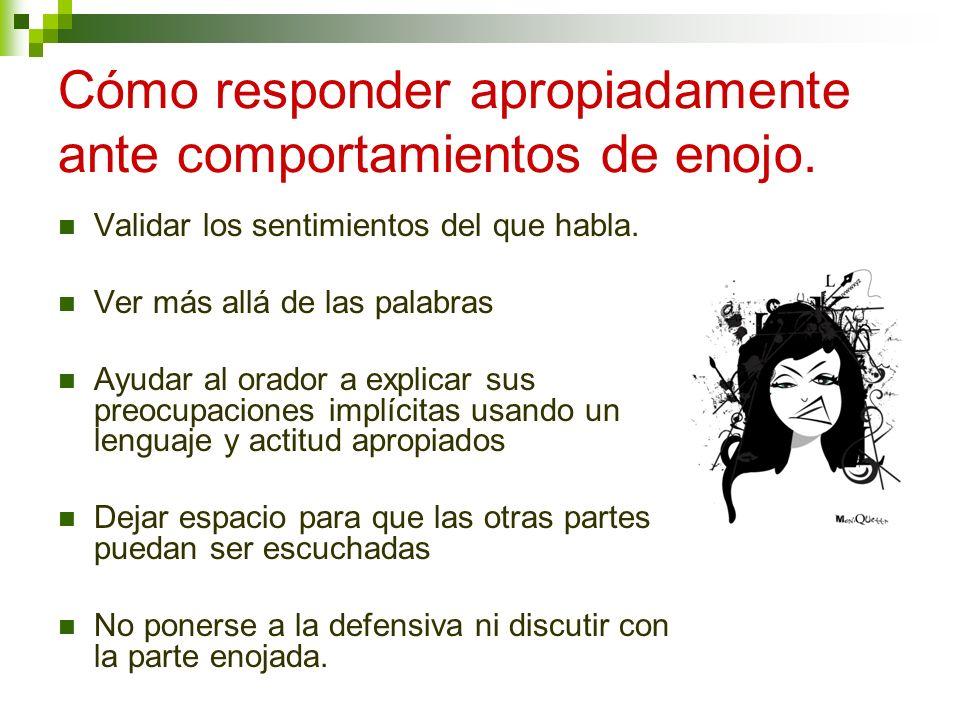 Cómo responder apropiadamente ante comportamientos de enojo.
