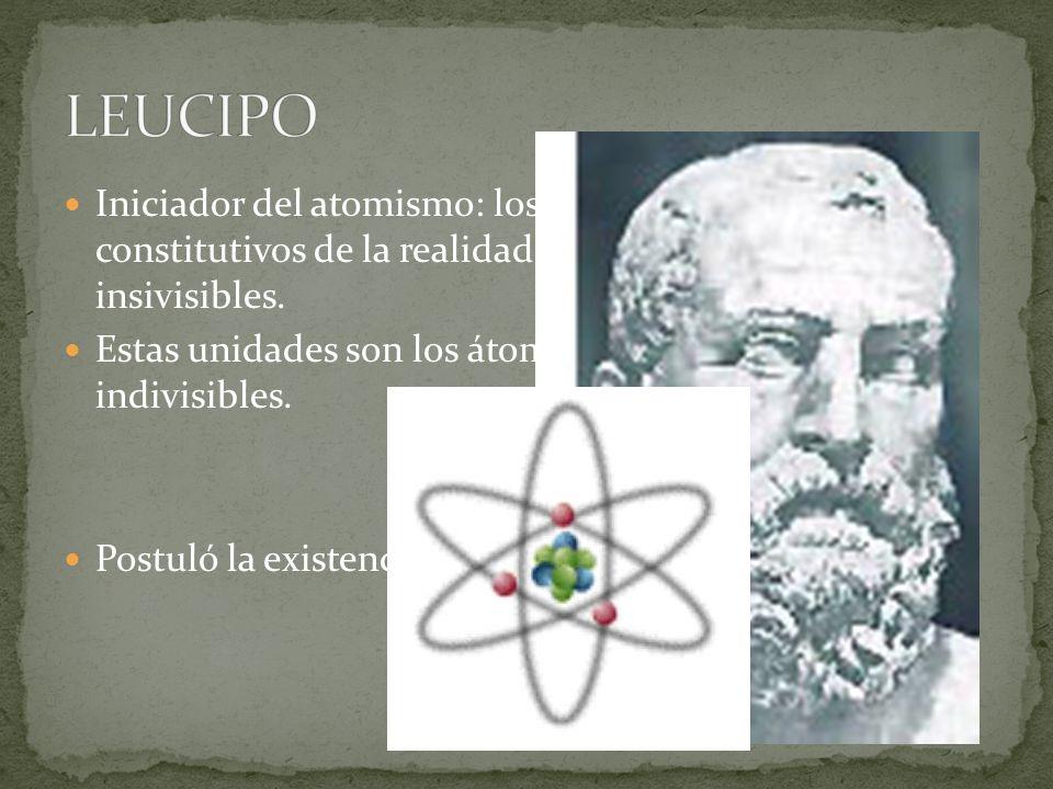 LEUCIPO Iniciador del atomismo: los últimos elementos constitutivos de la realidad son unidades materiales insivisibles.