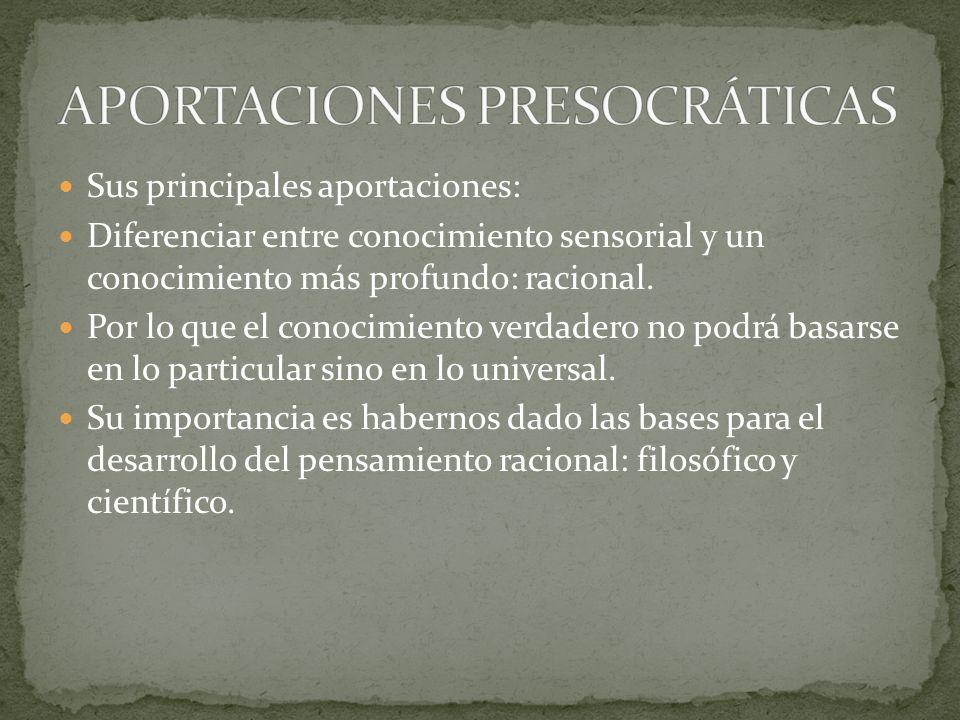 APORTACIONES PRESOCRÁTICAS