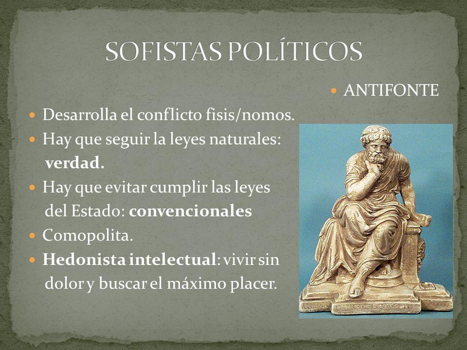 SOFISTAS POLÍTICOS ANTIFONTE Desarrolla el conflicto fisis/nomos.