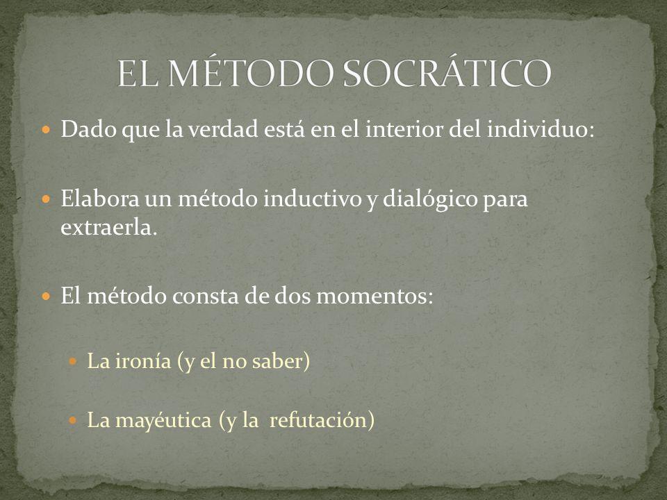 EL MÉTODO SOCRÁTICO Dado que la verdad está en el interior del individuo: Elabora un método inductivo y dialógico para extraerla.