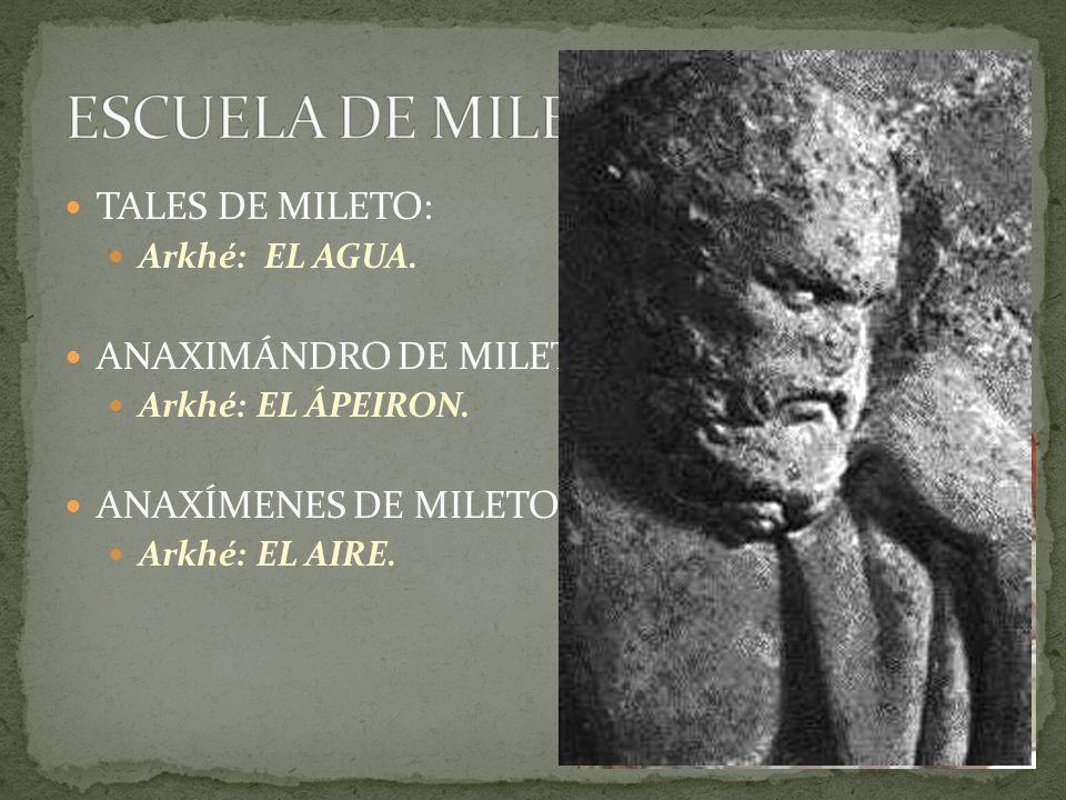 ESCUELA DE MILETO TALES DE MILETO: ANAXIMÁNDRO DE MILETO: