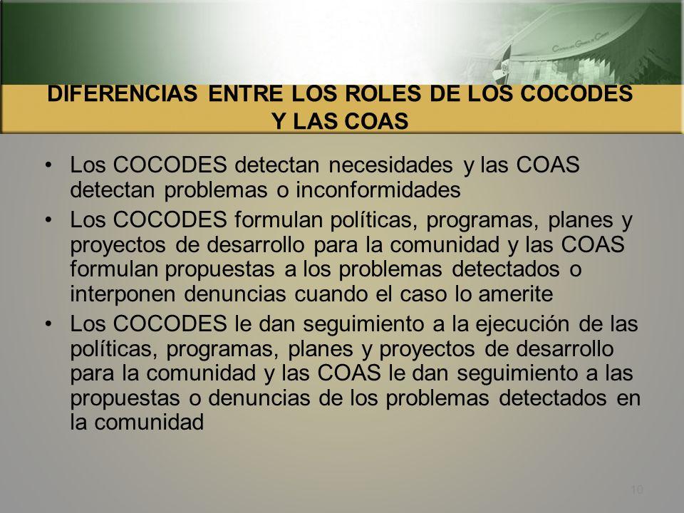 DIFERENCIAS ENTRE LOS ROLES DE LOS COCODES Y LAS COAS