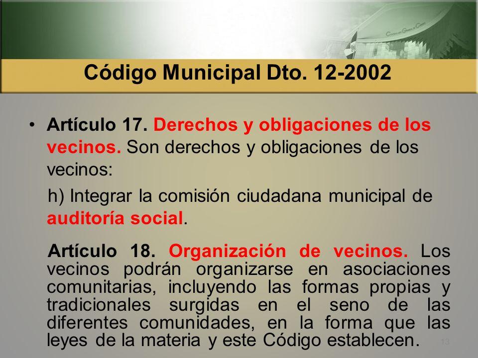 Código Municipal Dto. 12-2002 Artículo 17. Derechos y obligaciones de los vecinos. Son derechos y obligaciones de los vecinos: