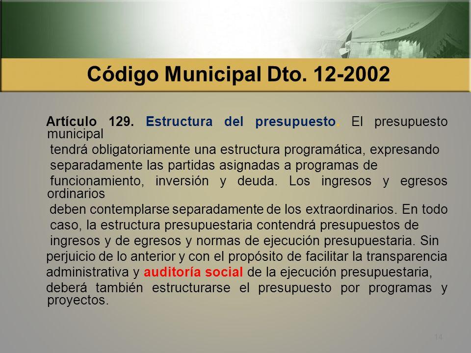 Código Municipal Dto. 12-2002 Artículo 129. Estructura del presupuesto. El presupuesto municipal.