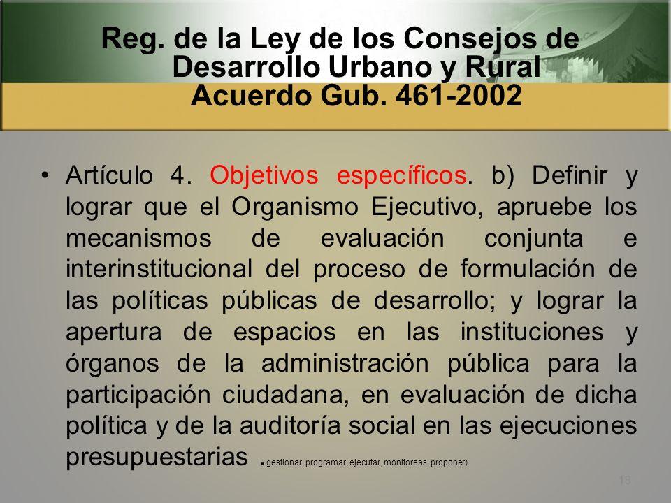 Reg. de la Ley de los Consejos de Desarrollo Urbano y Rural Acuerdo Gub. 461-2002