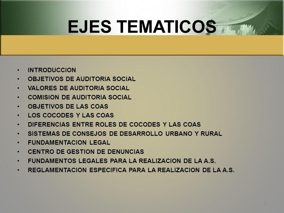 EJES TEMATICOS INTRODUCCION OBJETIVOS DE AUDITORIA SOCIAL