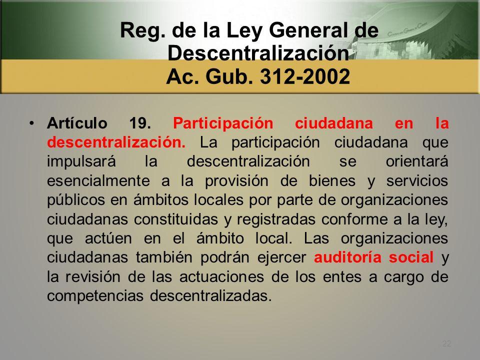 Reg. de la Ley General de Descentralización Ac. Gub. 312-2002