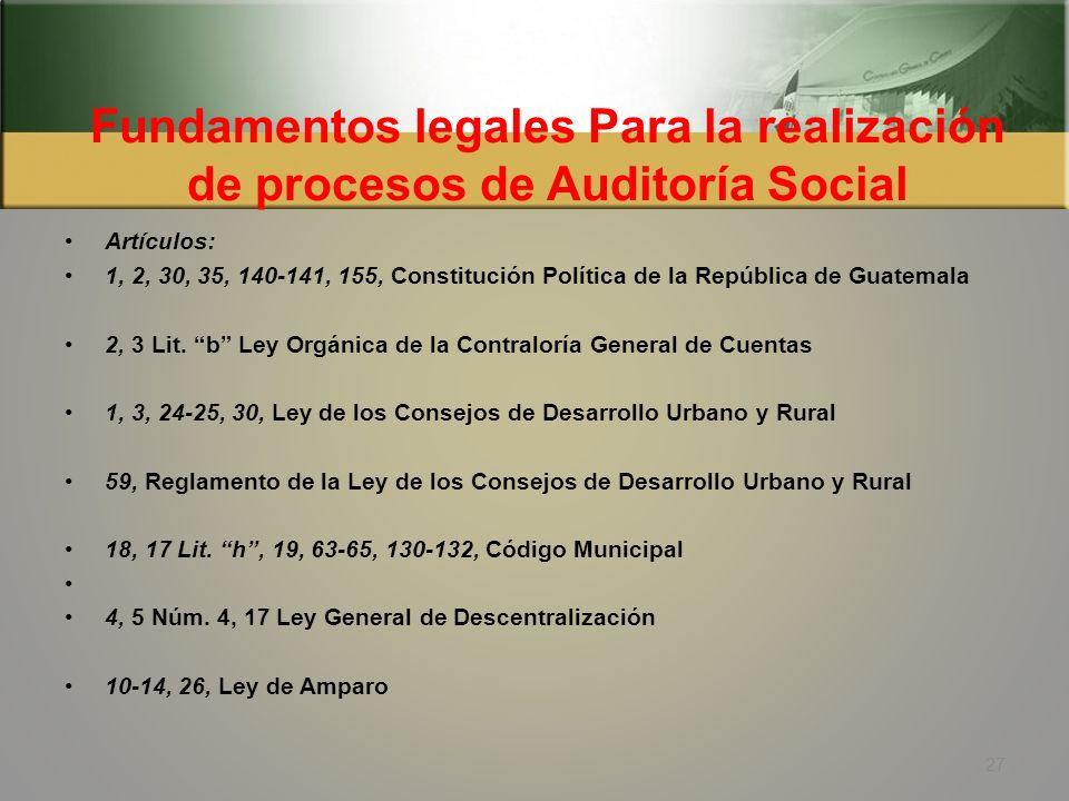 Fundamentos legales Para la realización de procesos de Auditoría Social