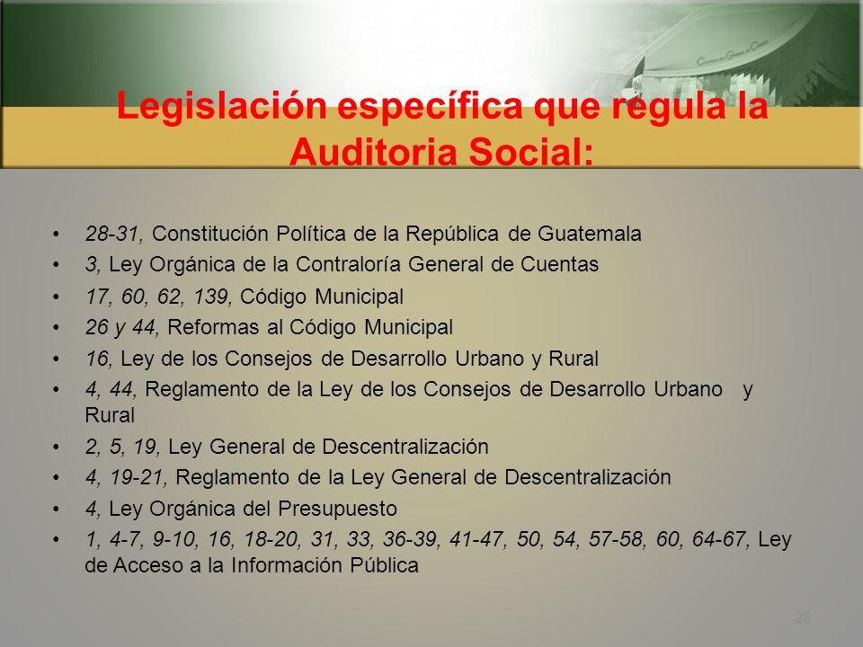 Legislación específica que regula la Auditoria Social: