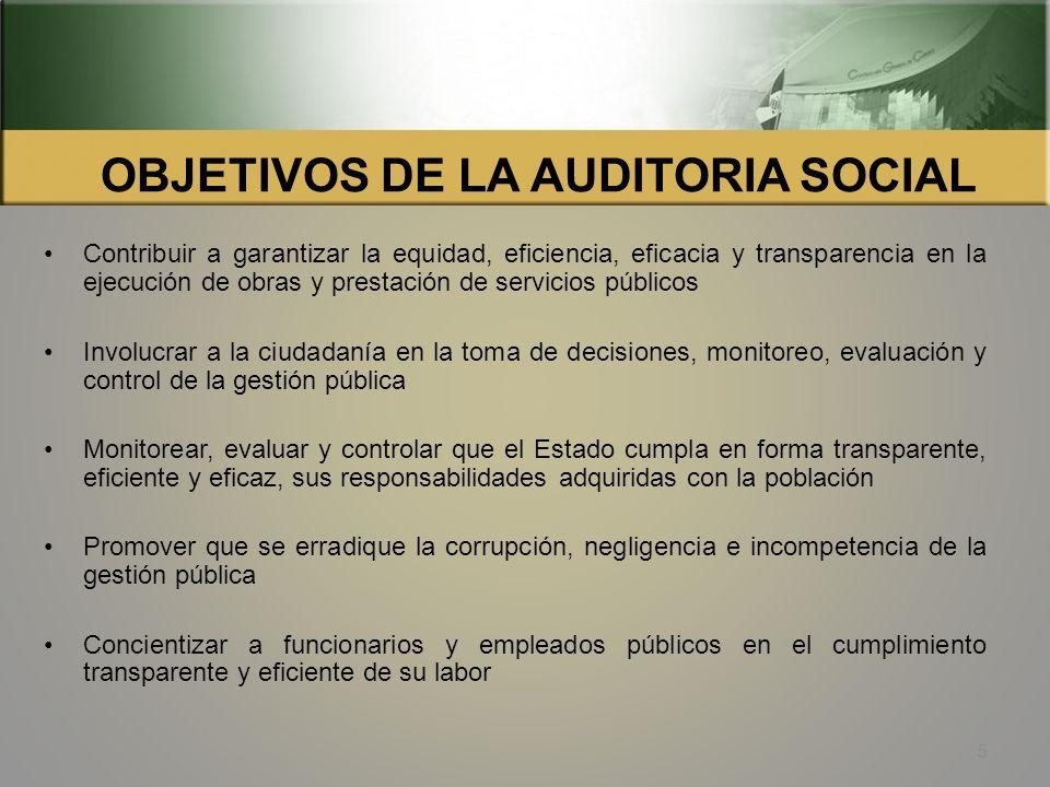 OBJETIVOS DE LA AUDITORIA SOCIAL
