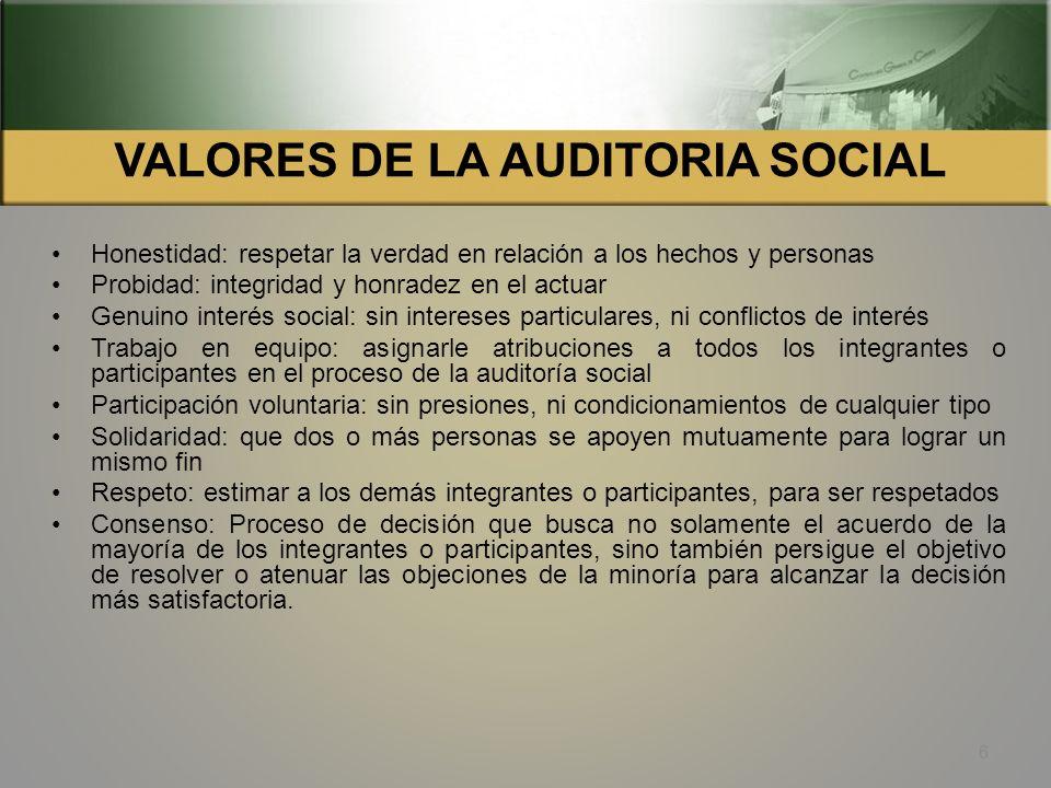 VALORES DE LA AUDITORIA SOCIAL
