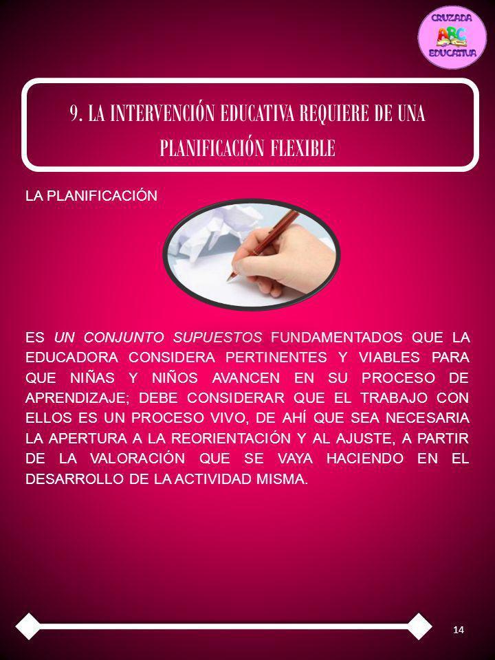 9. LA INTERVENCIÓN EDUCATIVA REQUIERE DE UNA PLANIFICACIÓN FLEXIBLE