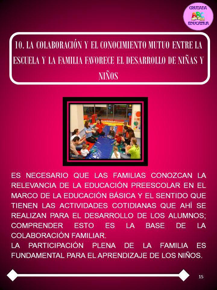 10. LA COLABORACIÓN Y EL CONOCIMIENTO MUTUO ENTRE LA ESCUELA Y LA FAMILIA FAVORECE EL DESARROLLO DE NIÑAS Y NIÑOS