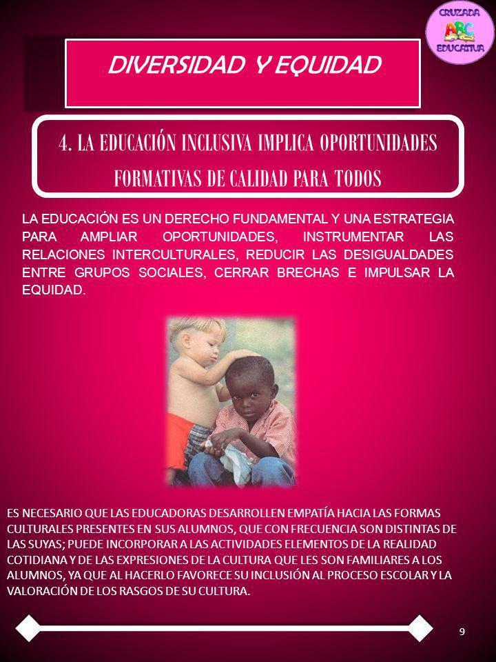 DIVERSIDAD Y EQUIDAD 4. LA EDUCACIÓN INCLUSIVA IMPLICA OPORTUNIDADES FORMATIVAS DE CALIDAD PARA TODOS.