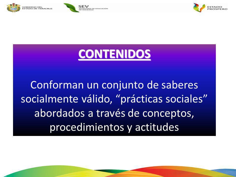 CONTENIDOS Conforman un conjunto de saberes socialmente válido, prácticas sociales abordados a través de conceptos, procedimientos y actitudes.