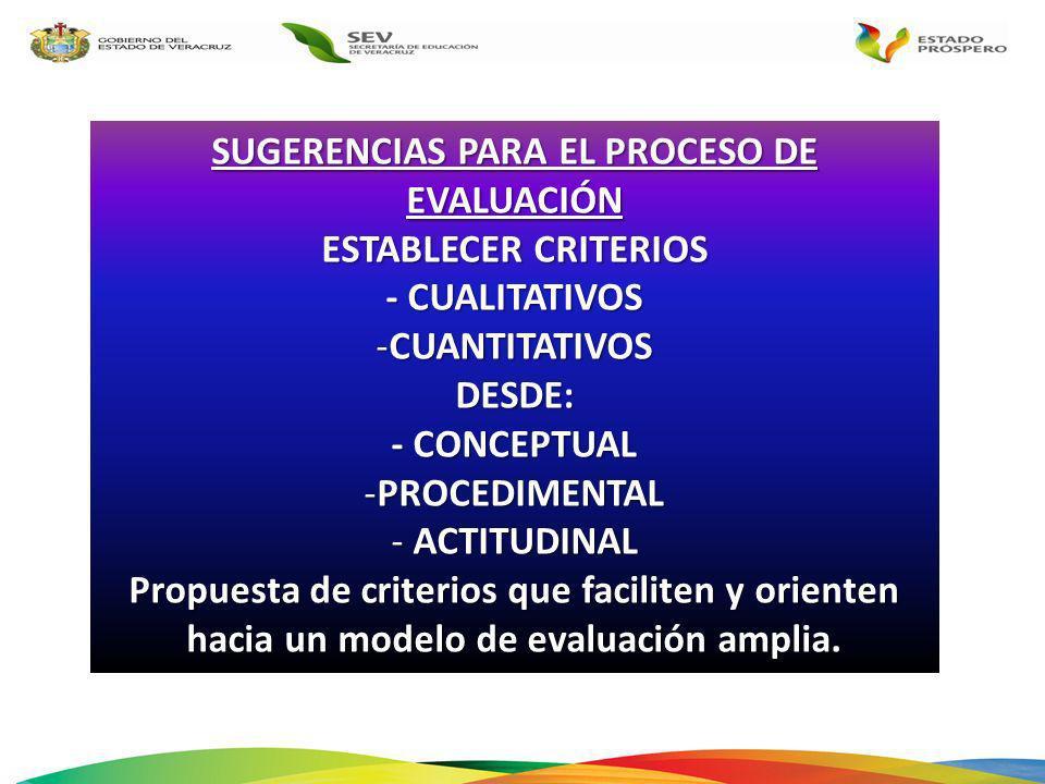 SUGERENCIAS PARA EL PROCESO DE EVALUACIÓN