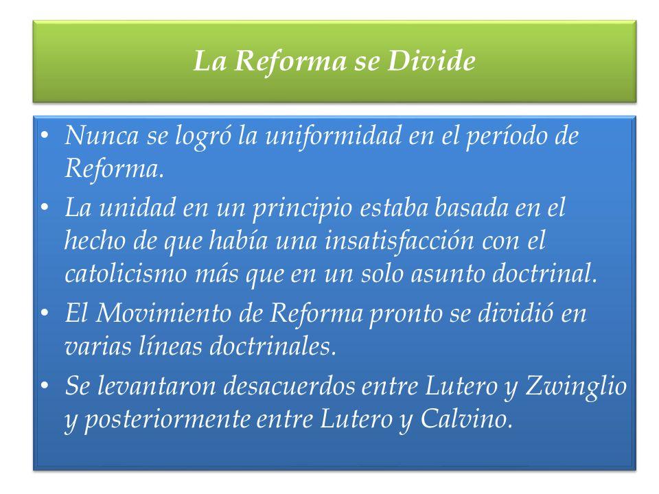 La Reforma se Divide Nunca se logró la uniformidad en el período de Reforma.