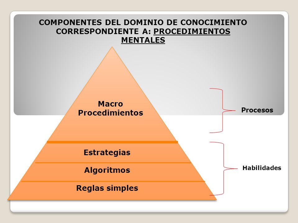 COMPONENTES DEL DOMINIO DE CONOCIMIENTO CORRESPONDIENTE A: PROCEDIMIENTOS MENTALES