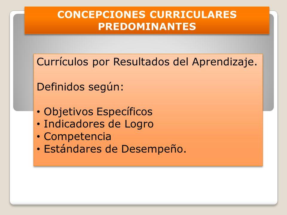 CONCEPCIONES CURRICULARES PREDOMINANTES