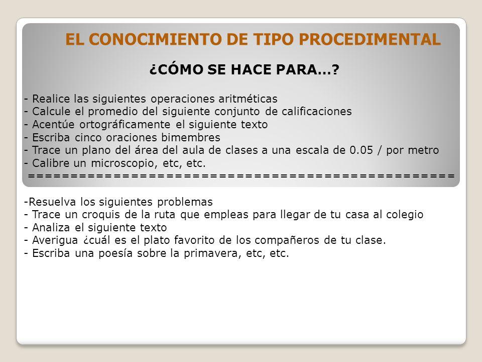 EL CONOCIMIENTO DE TIPO PROCEDIMENTAL