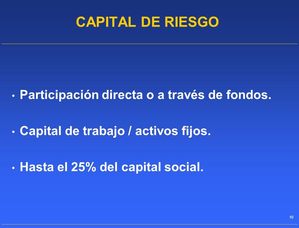 CAPITAL DE RIESGO Participación directa o a través de fondos.
