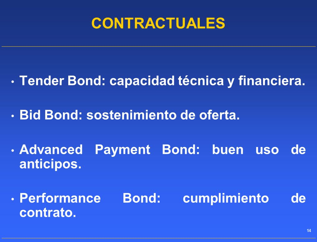 CONTRACTUALES Tender Bond: capacidad técnica y financiera.
