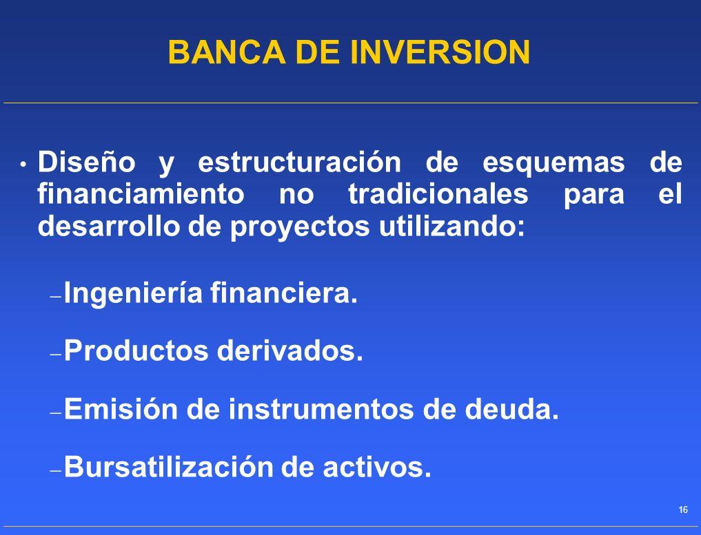 BANCA DE INVERSIONDiseño y estructuración de esquemas de financiamiento no tradicionales para el desarrollo de proyectos utilizando: