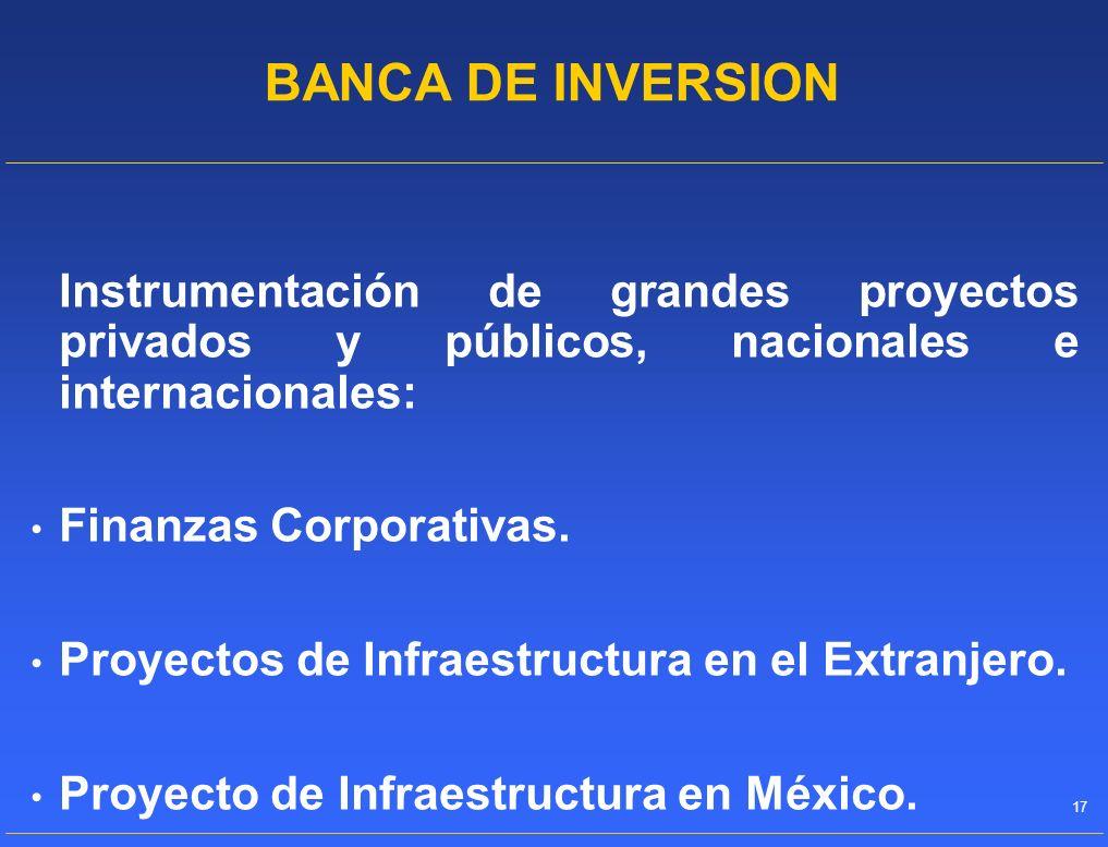 BANCA DE INVERSION Instrumentación de grandes proyectos privados y públicos, nacionales e internacionales: