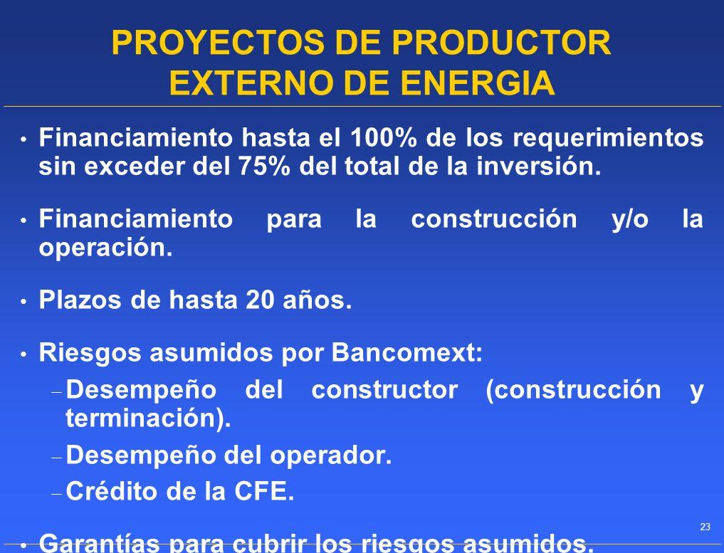 PROYECTOS DE PRODUCTOR EXTERNO DE ENERGIA