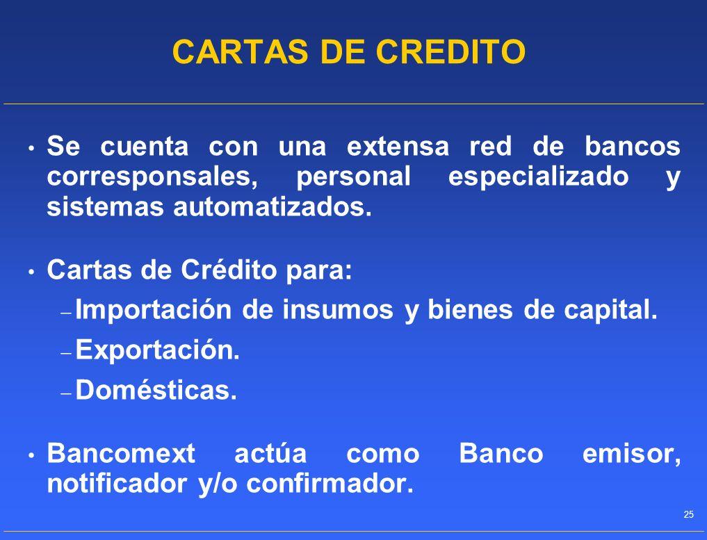CARTAS DE CREDITO Se cuenta con una extensa red de bancos corresponsales, personal especializado y sistemas automatizados.