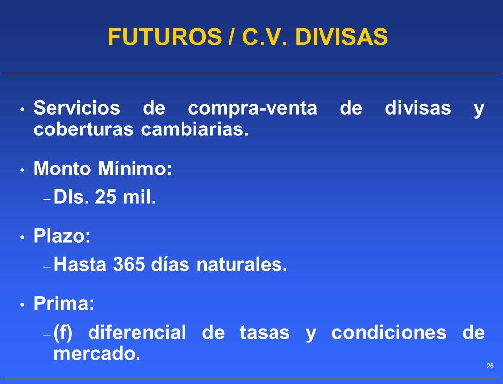 FUTUROS / C.V. DIVISAS Servicios de compra-venta de divisas y coberturas cambiarias. Monto Mínimo: