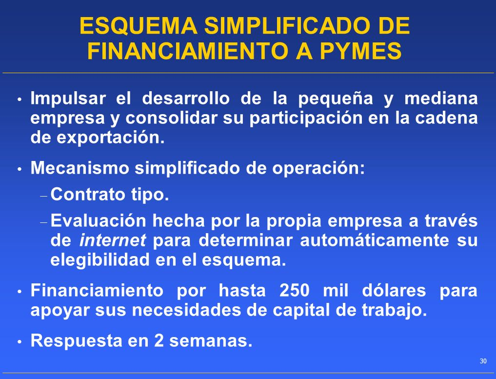 ESQUEMA SIMPLIFICADO DE FINANCIAMIENTO A PYMES