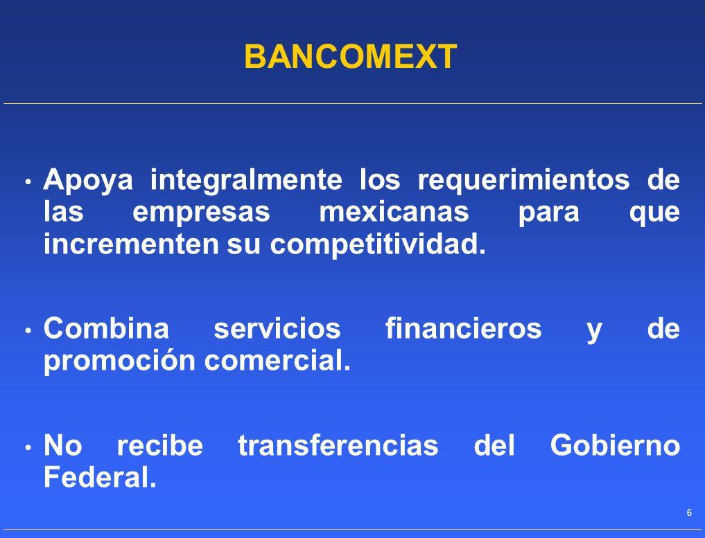 BANCOMEXTApoya integralmente los requerimientos de las empresas mexicanas para que incrementen su competitividad.