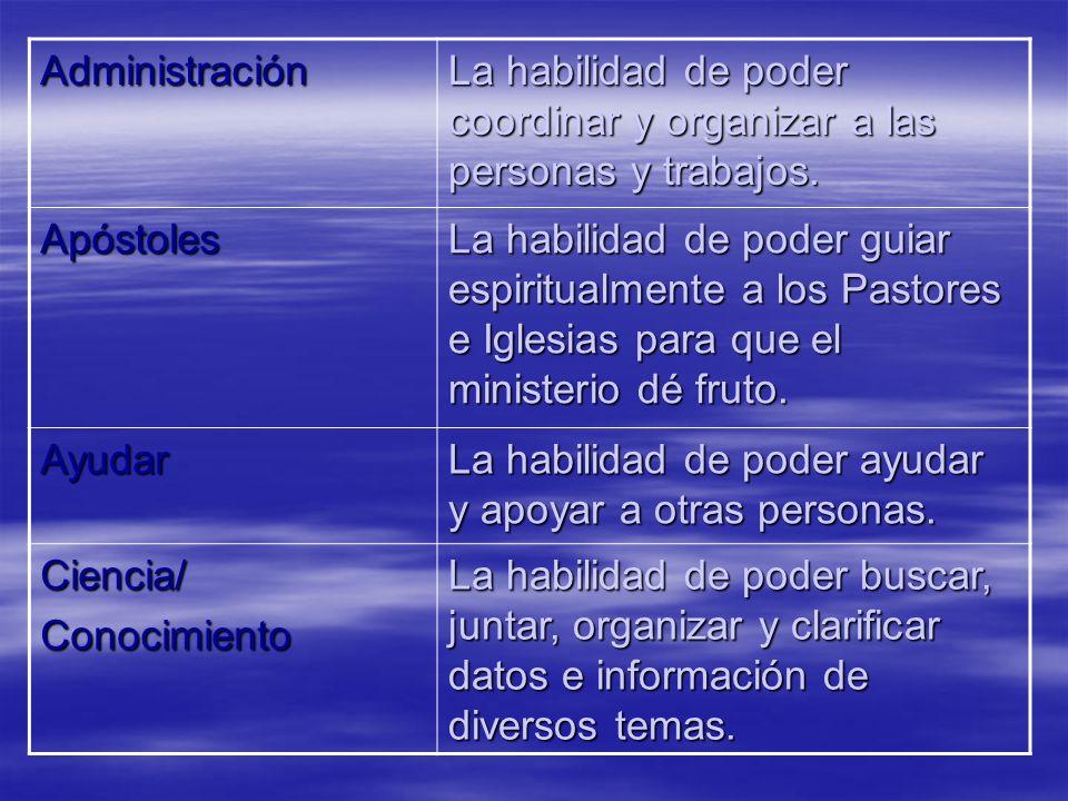 Administración La habilidad de poder coordinar y organizar a las personas y trabajos. Apóstoles.