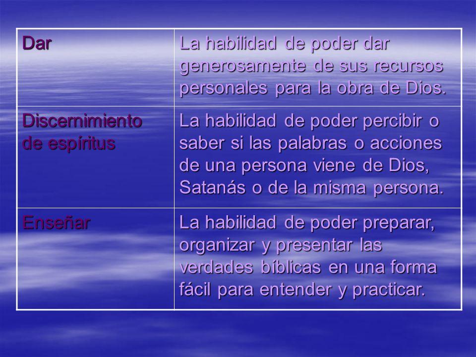 Dar La habilidad de poder dar generosamente de sus recursos personales para la obra de Dios. Discernimiento de espíritus.