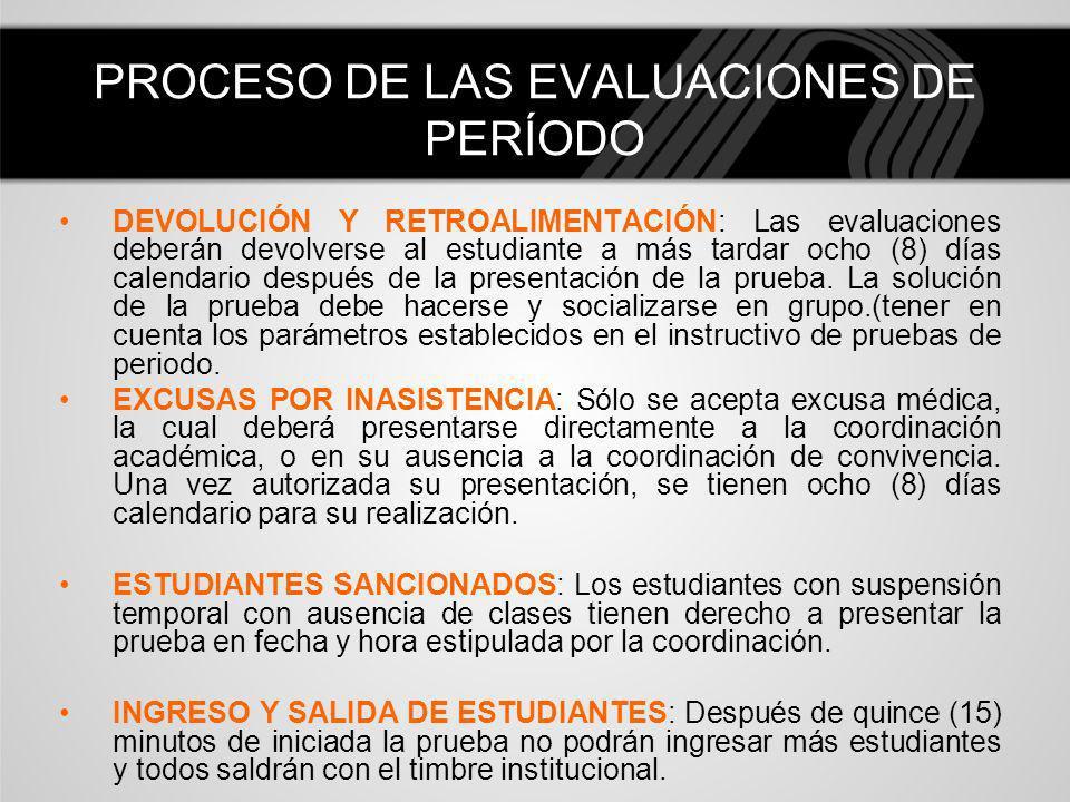 PROCESO DE LAS EVALUACIONES DE PERÍODO