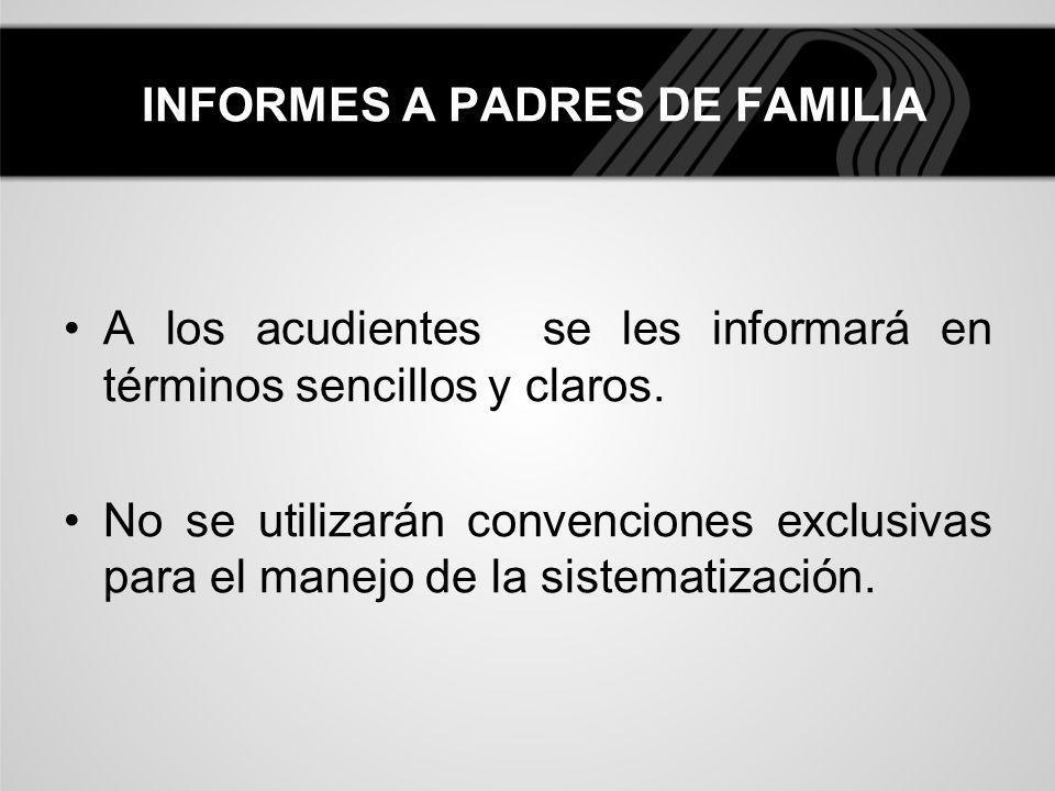 INFORMES A PADRES DE FAMILIA
