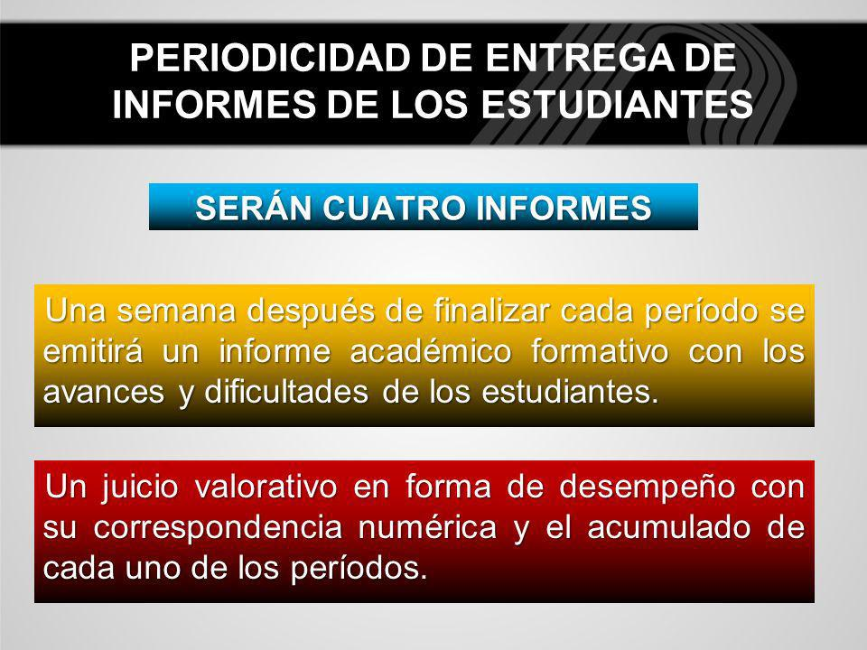 PERIODICIDAD DE ENTREGA DE INFORMES DE LOS ESTUDIANTES