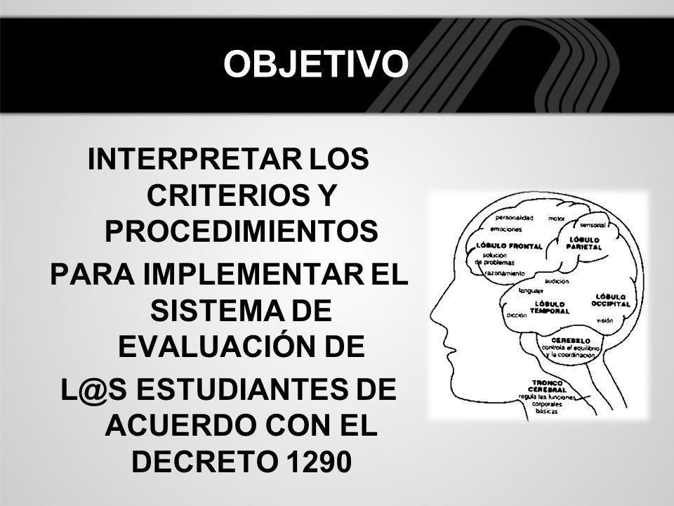 OBJETIVO INTERPRETAR LOS CRITERIOS Y PROCEDIMIENTOS PARA IMPLEMENTAR EL SISTEMA DE EVALUACIÓN DE L@S ESTUDIANTES DE ACUERDO CON EL DECRETO 1290