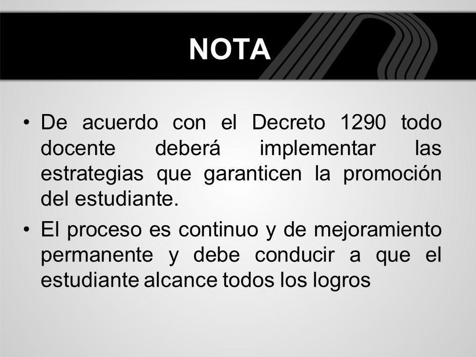 NOTADe acuerdo con el Decreto 1290 todo docente deberá implementar las estrategias que garanticen la promoción del estudiante.