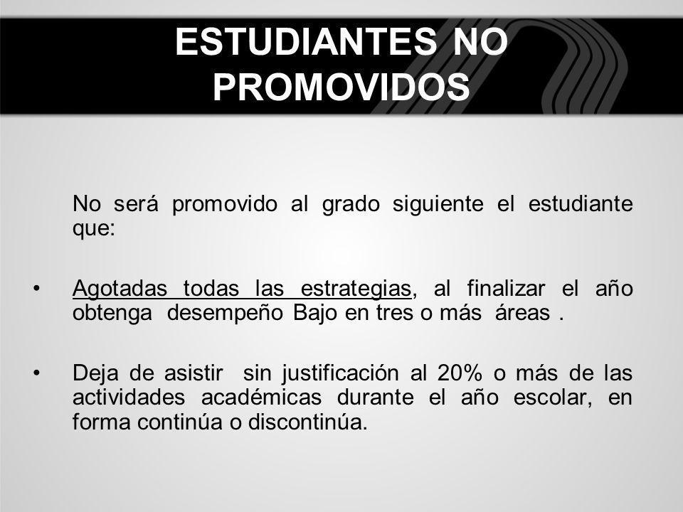 ESTUDIANTES NO PROMOVIDOS