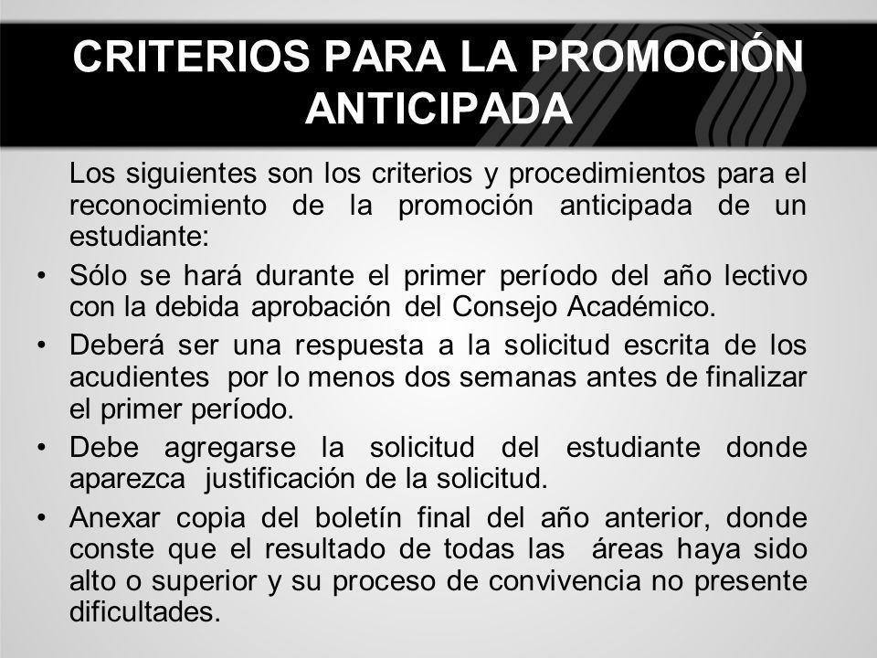CRITERIOS PARA LA PROMOCIÓN ANTICIPADA