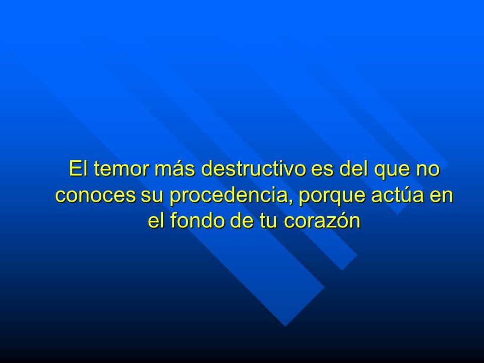 El temor más destructivo es del que no conoces su procedencia, porque actúa en el fondo de tu corazón
