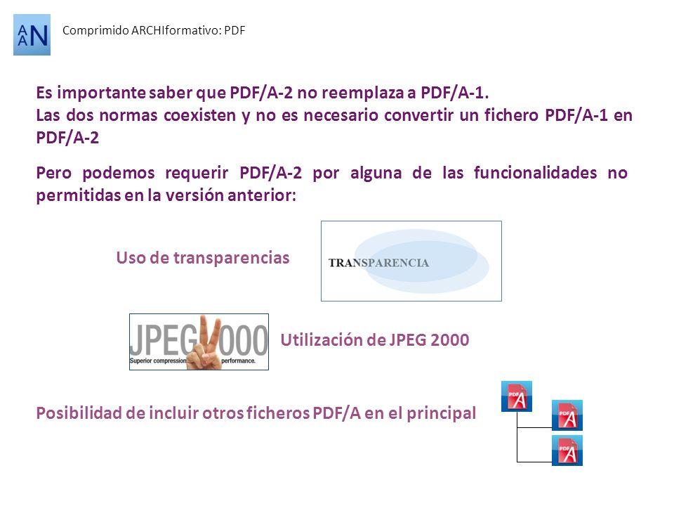 Es importante saber que PDF/A-2 no reemplaza a PDF/A-1.