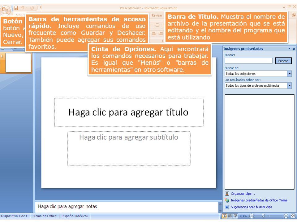 Barra de Título. Muestra el nombre de archivo de la presentación que se está editando y el nombre del programa que está utilizando