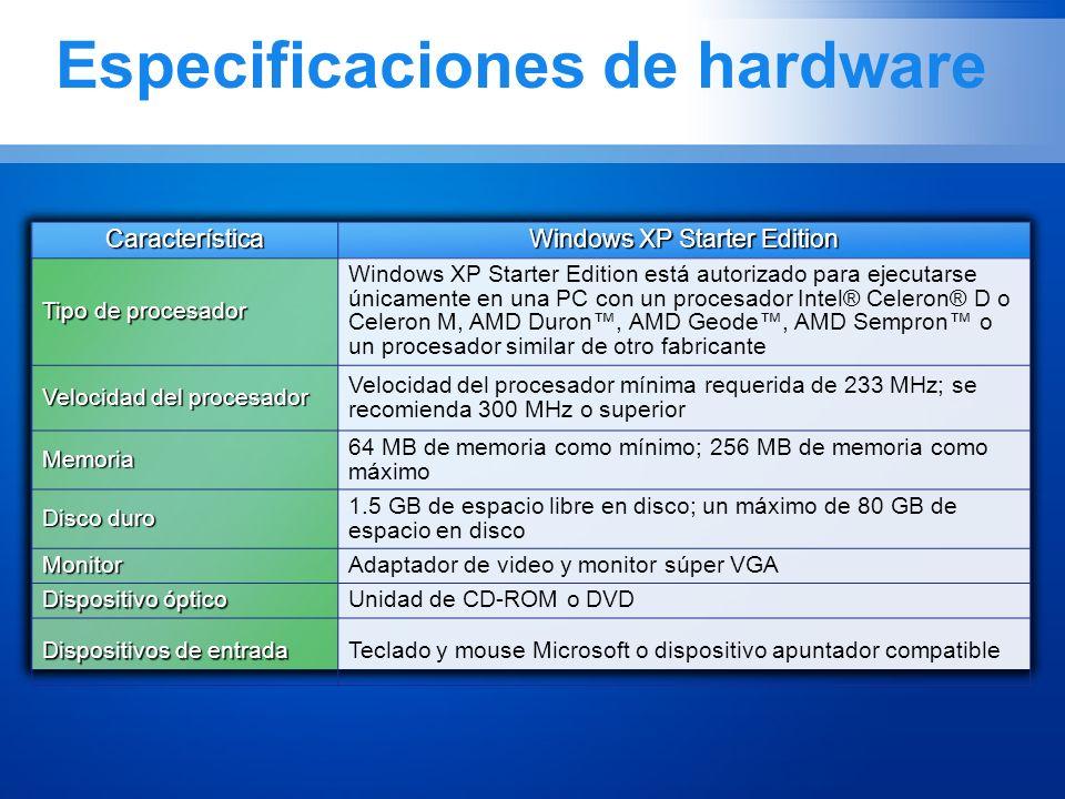 Especificaciones de hardware